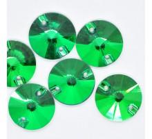 Стразы пришивные Риволи Emerald 14 мм